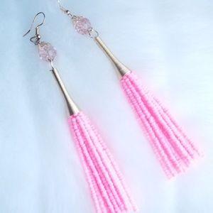 Pink bead fringe earrings